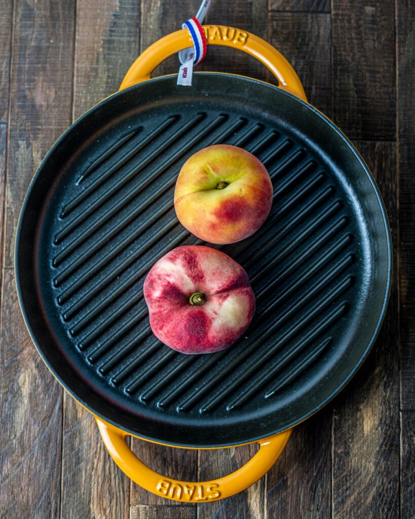 Staub Cast Iron Grill Pan with Peaches