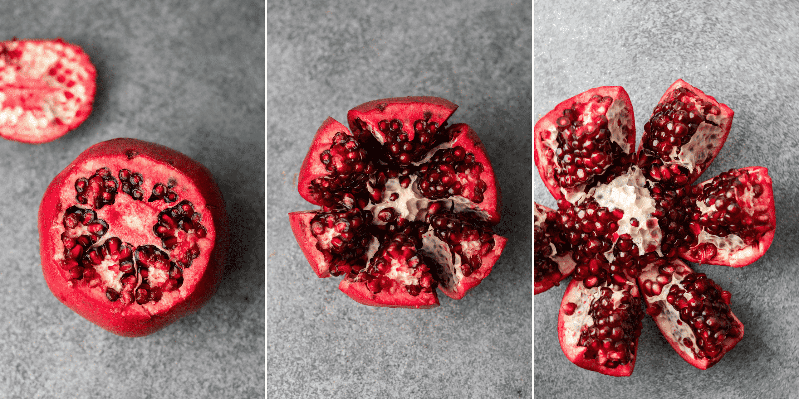 Collage of cutting a pomegranate into slices to deseed