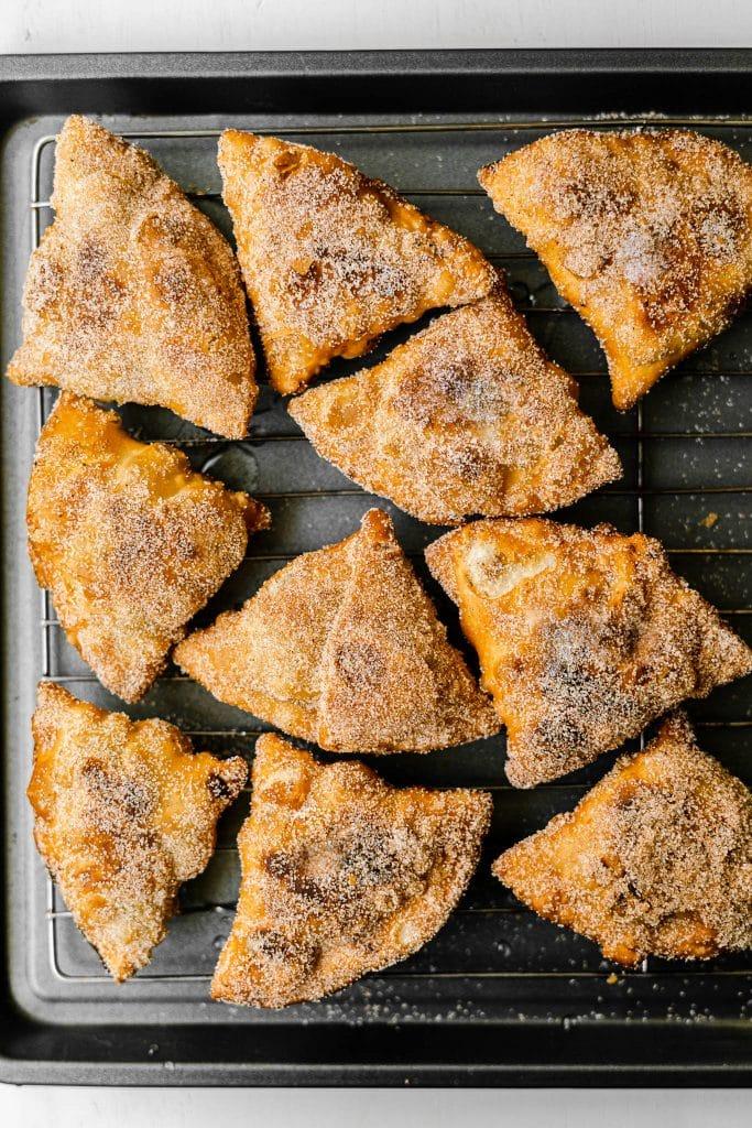 Freshly Fried Pumpkin Pie Samosas Coated in Cinnamon Sugar