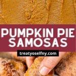 Pumpkin Pie Filling and samosa dipped into caramel pinterest iimage