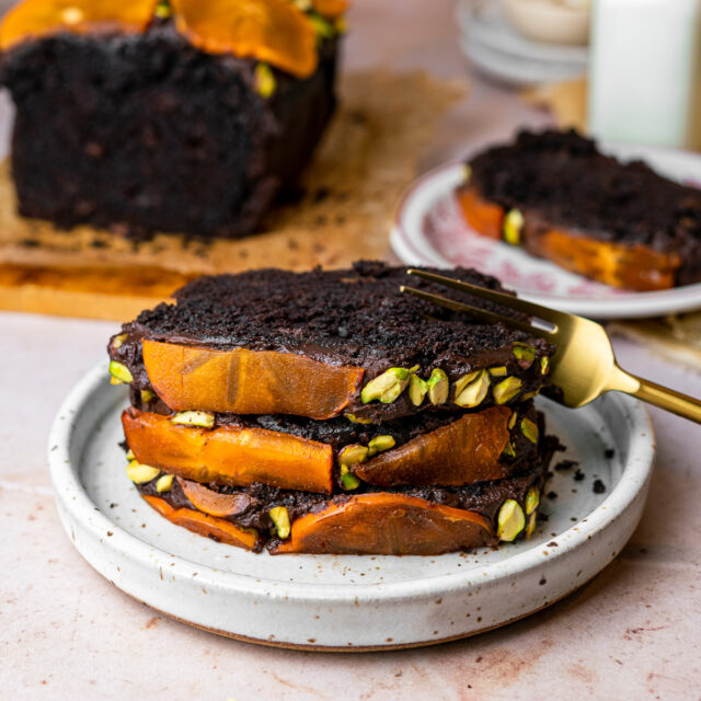 Featured Sliced Persimmon Chocolate Loaf Cake