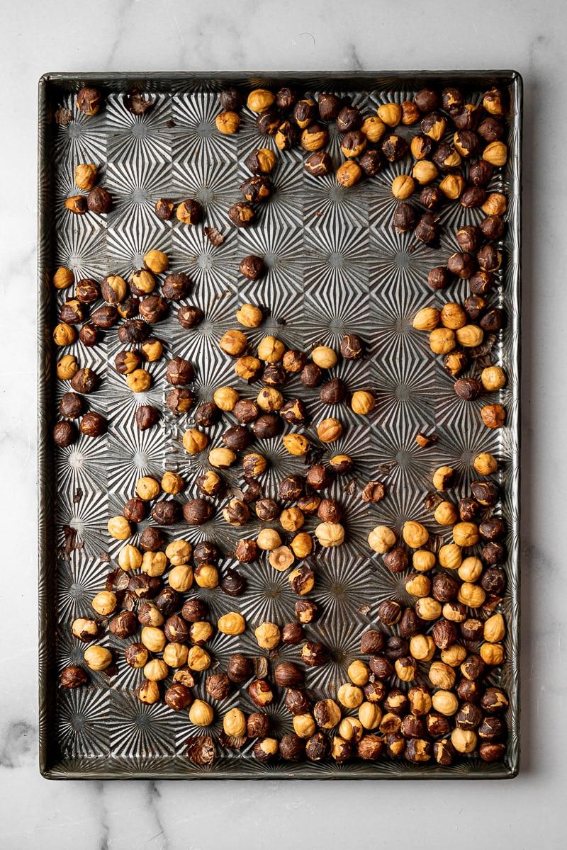 Roasted hazelnuts in sheet tray