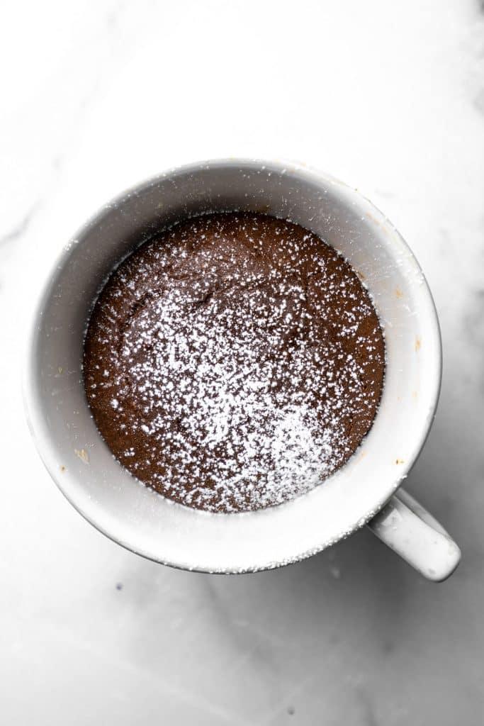 nutella lava mug cake baked in a mug