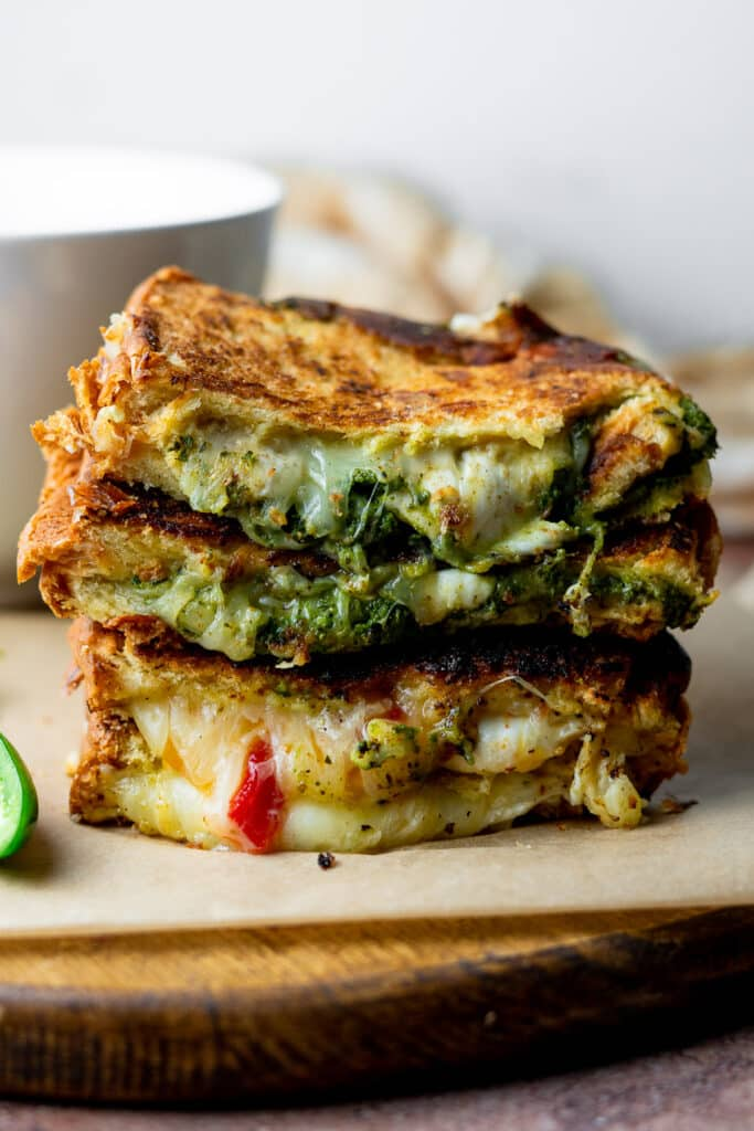 stack of chutney grilled cheese sandwiches