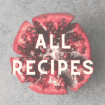 a pomegranate cut open into slices with the words all recipes