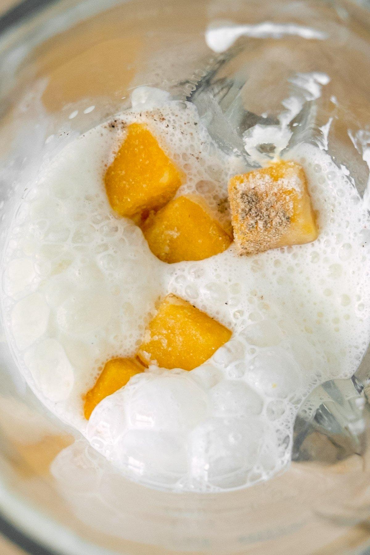 Mango Lassi Ingredients in a Blender