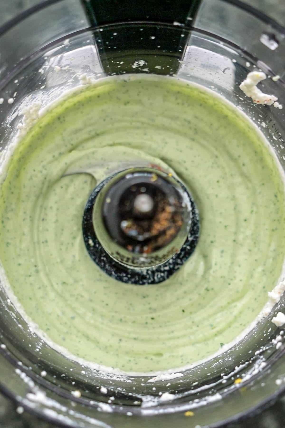 Lemon Basil Whipped Ricotta in a food processor