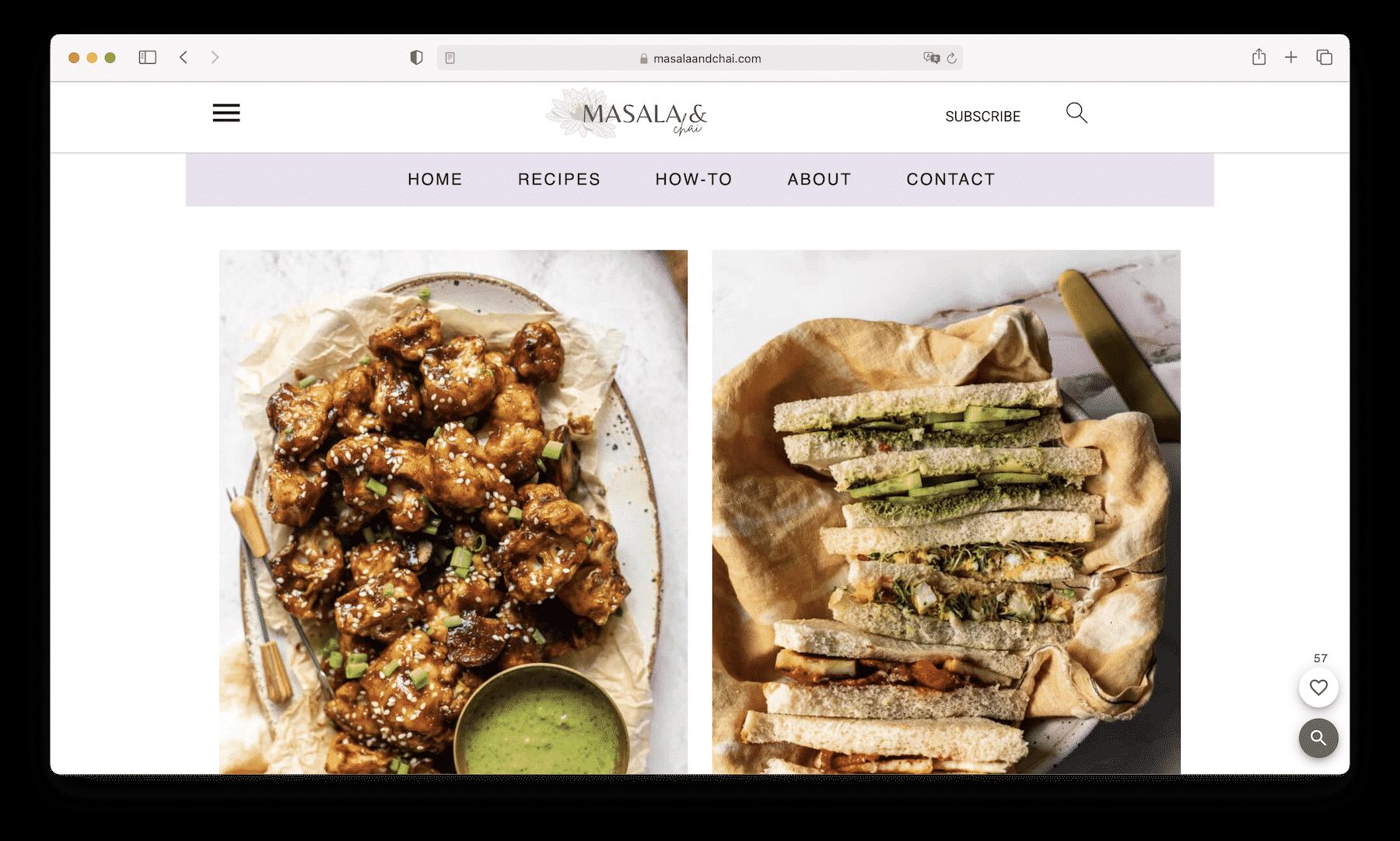 Homepage of Masala and Chai on Safari