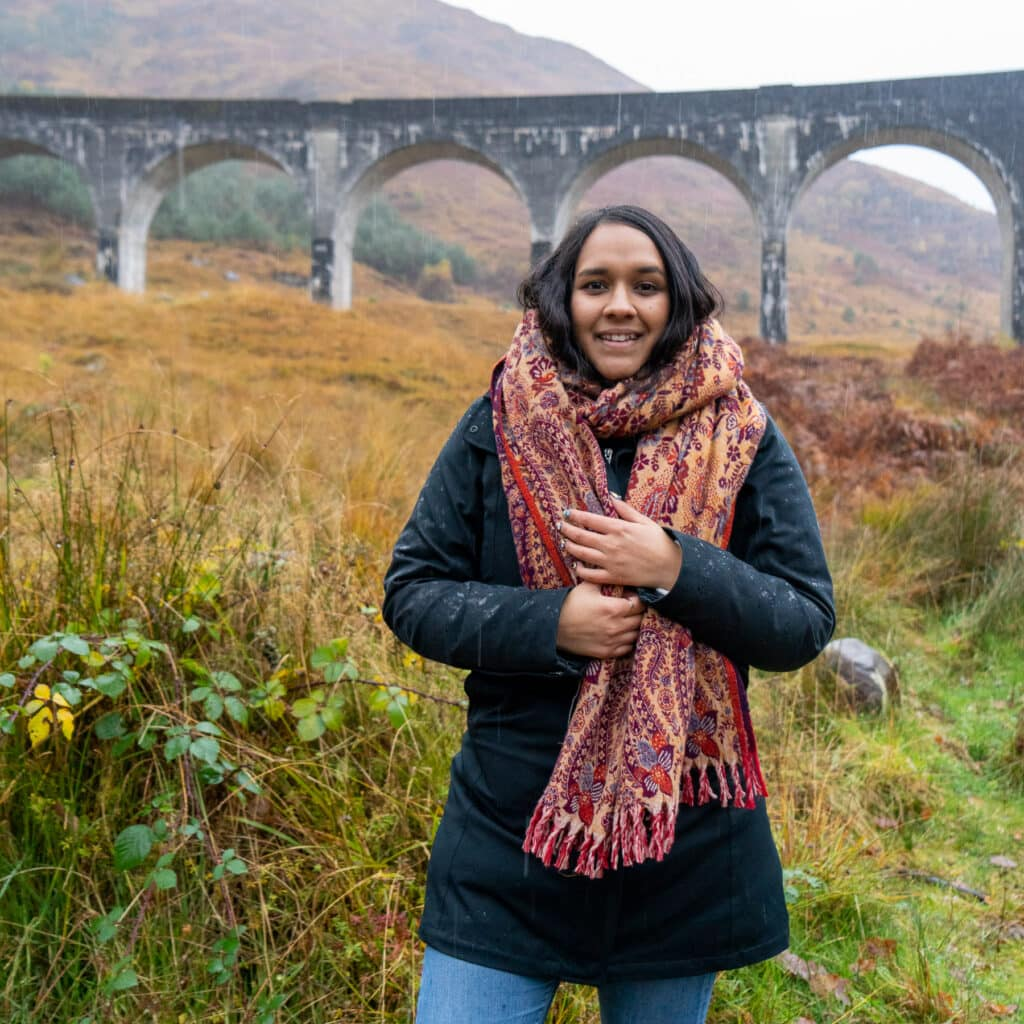 Shweta at the Glenfinnan Viaduct in Scotland