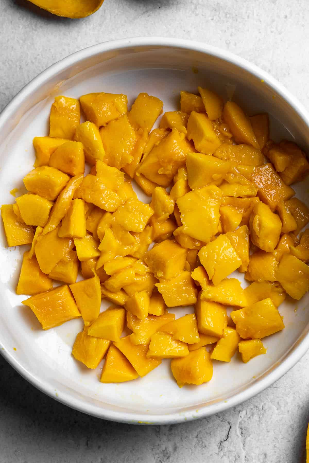 chunks of mangoes in a bowl