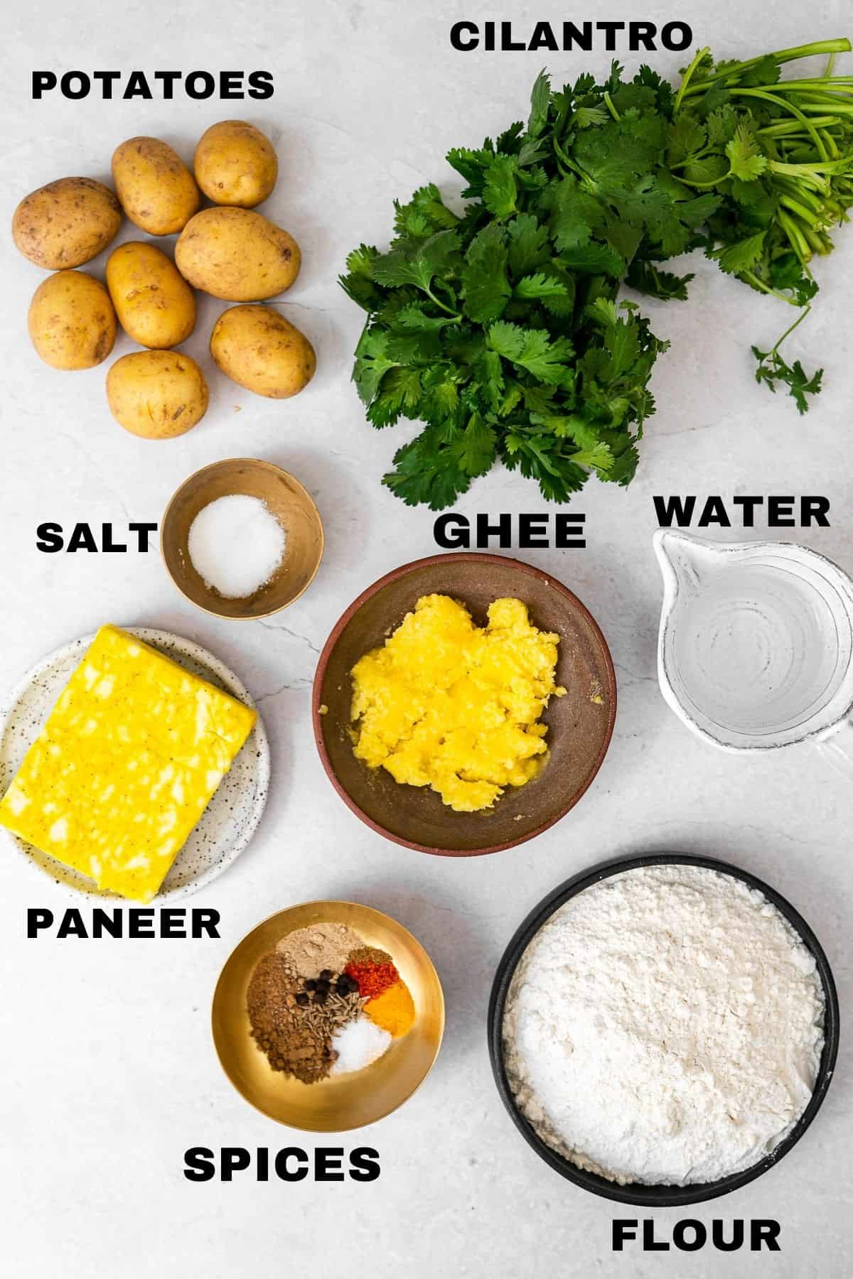 a flatlay of the paneer aloo samosa ingredients with labels