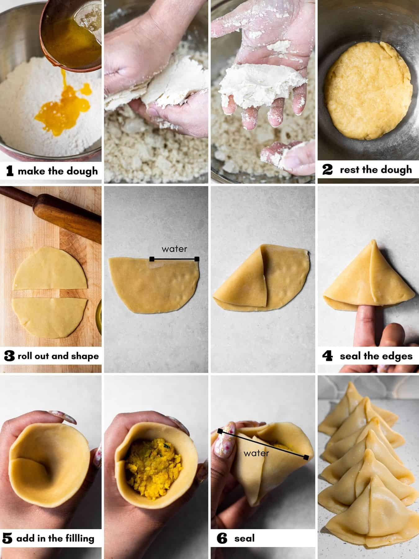 an infographic of making the samosa dough, shaping the samosa, filling it, and sealing it