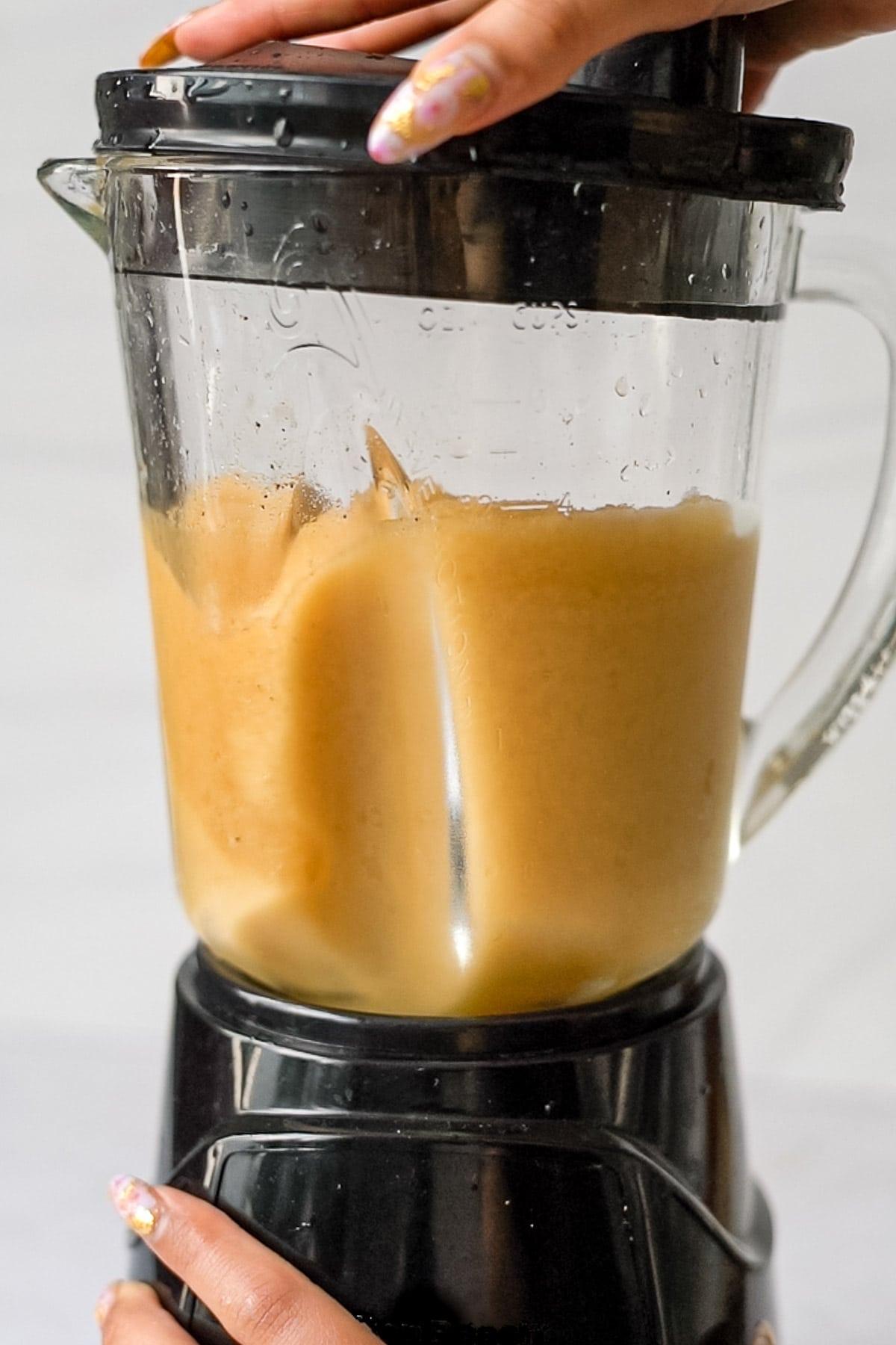 apple cider ice cubes blended into slushie