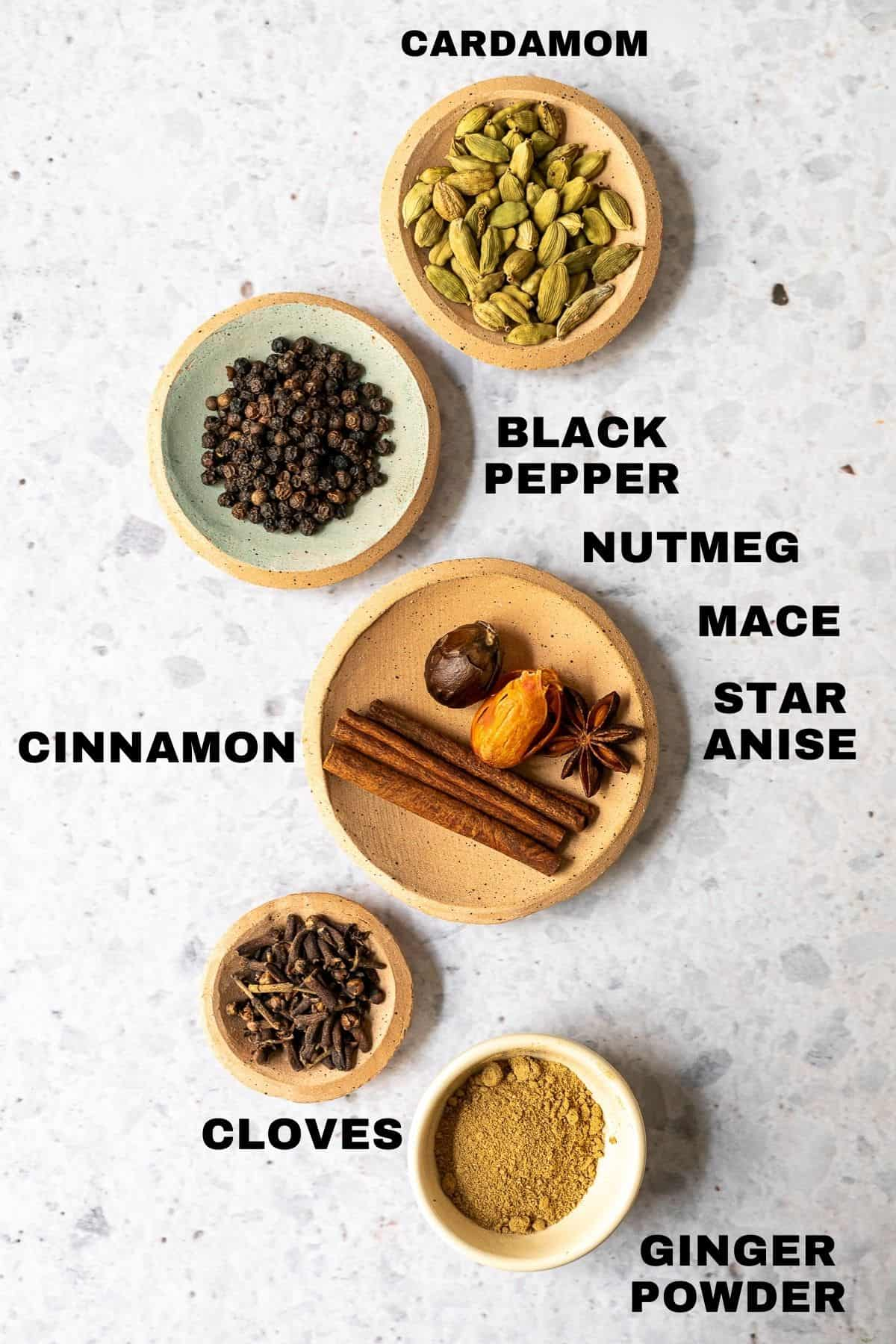 flatlay of spices for masala chai with labels
