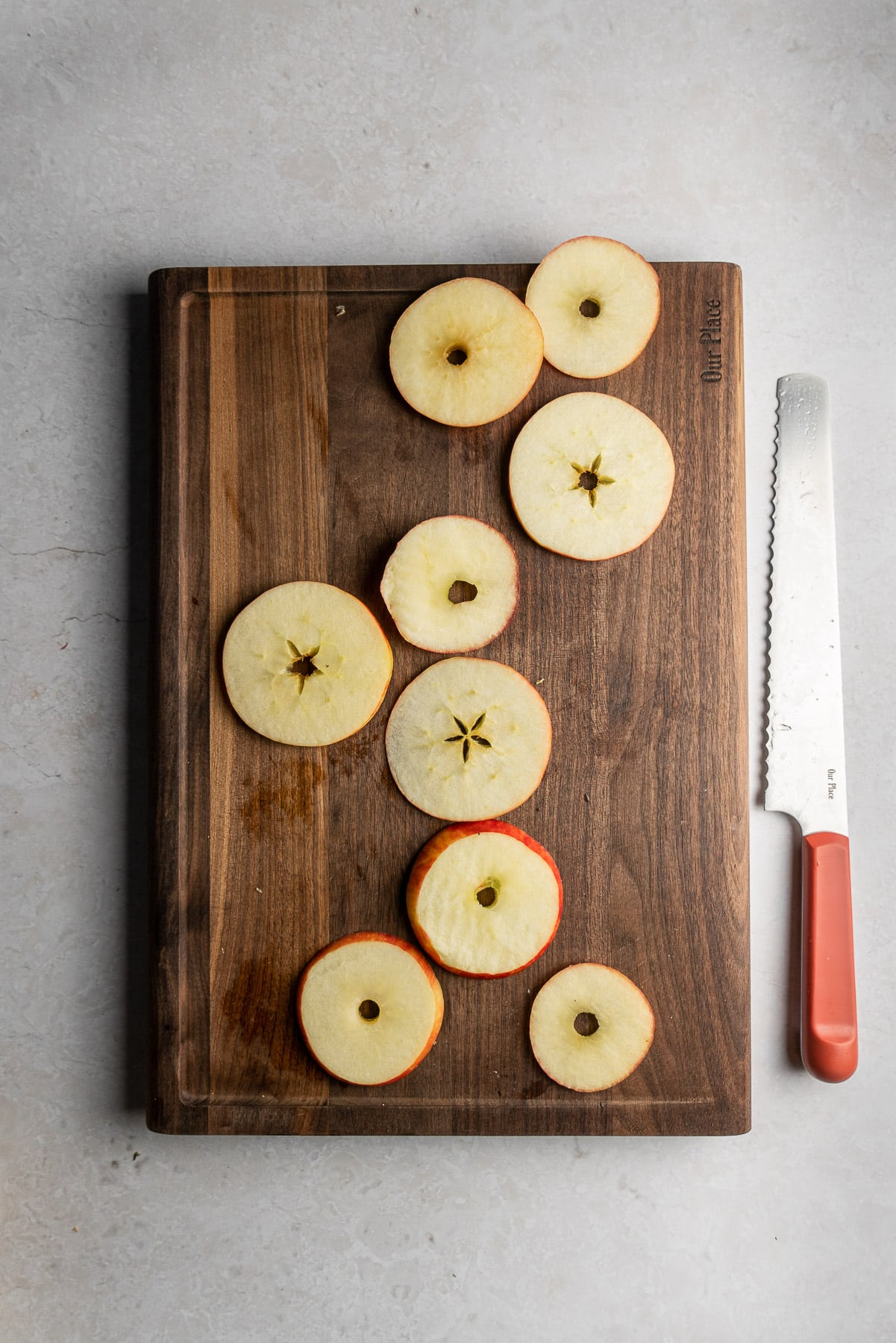 honey crisp apples cut into rings with the core taken out