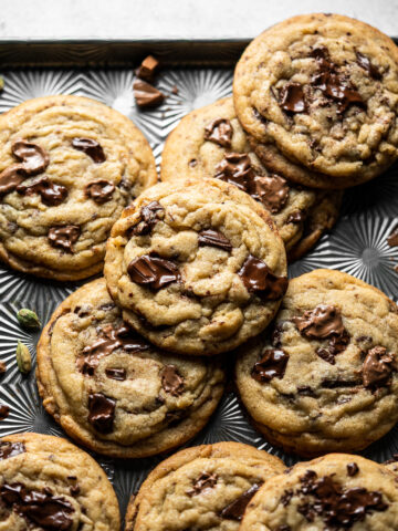 half a tray with chai spice chocolate chip cookies