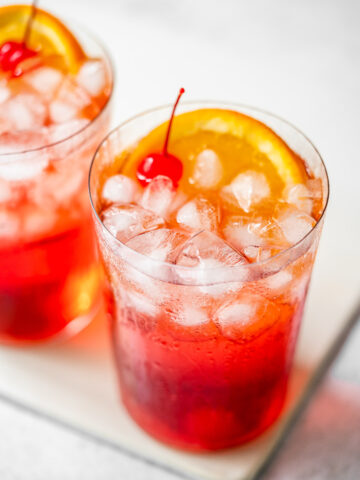 macro shot of two glasses of shirley temples