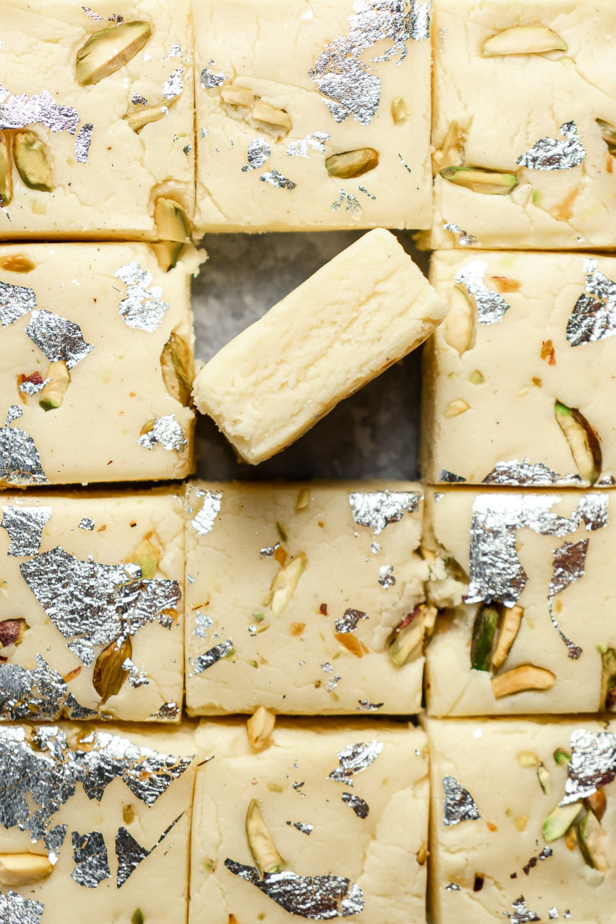 tops of the barfi with one turned on its side