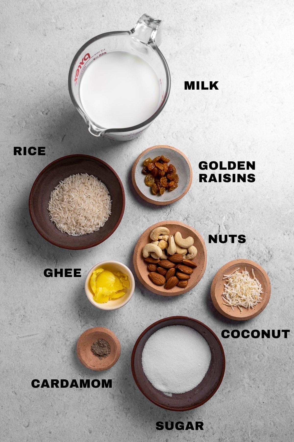 Rice Kheer Ingredients Flatlay with labels