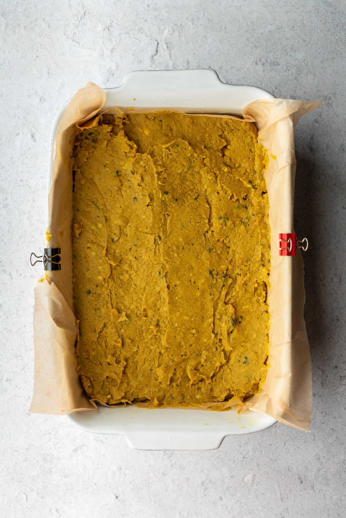 thickened chickpea fry batter in a baker