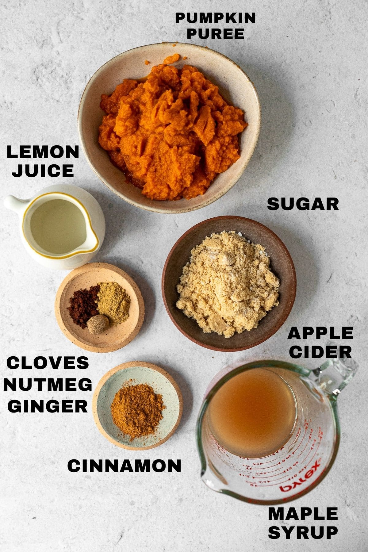 flatlay of pumpkin butter ingredients with labels