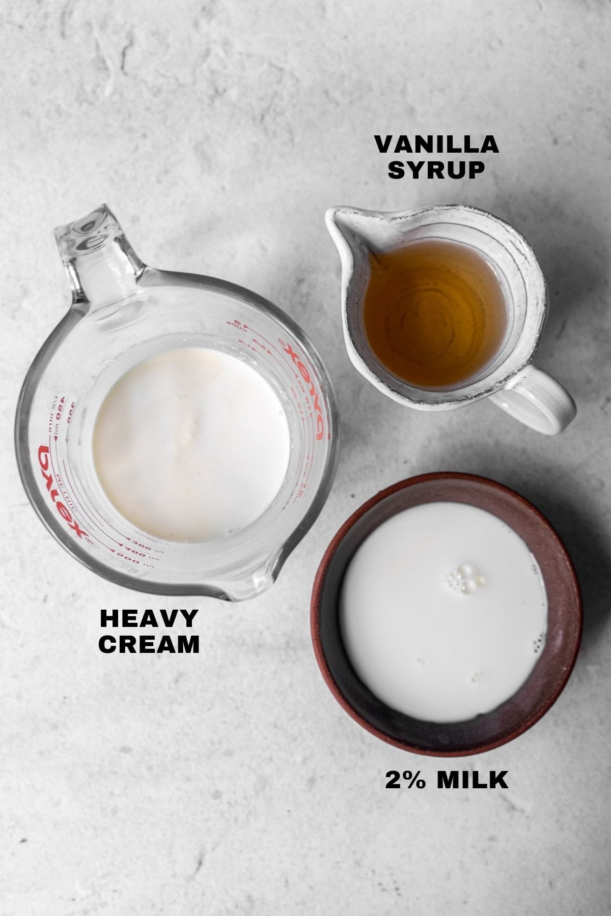 Ingredients for sweet cream cold foam with labels
